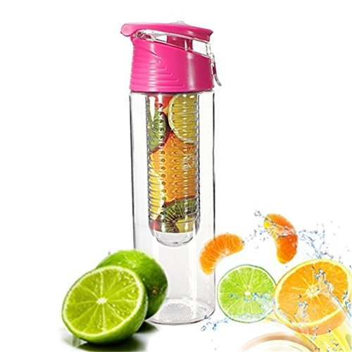 COCOSO Pink Fruit Infusing Water Bottle with Fruit Infuser and Flip Lid Lemon Juice Make Bottle- BPA Free (800 ml)