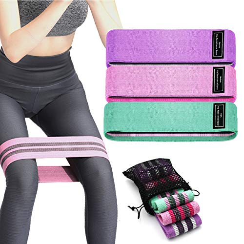 Fudee Resistance Bands for Legs and Butt Booty Bands: 3 Pack Set Workout Bands- One Common Size with 3 Fabric Glute Bands Levels.