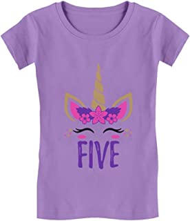 Gift for 5 Year Old Girl Unicorn 5th Birthday Infant Girls' Fitted T-Shirt