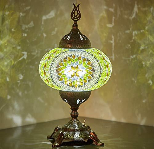 (15 colores) lámpara de mesa con mosaico con bombilla LED incorporada, turco marroquí hecho a mano con mosaico de mesa de mesa de mesa de mesa de noche con lámpara LED, sin cordón (jardín de limón)