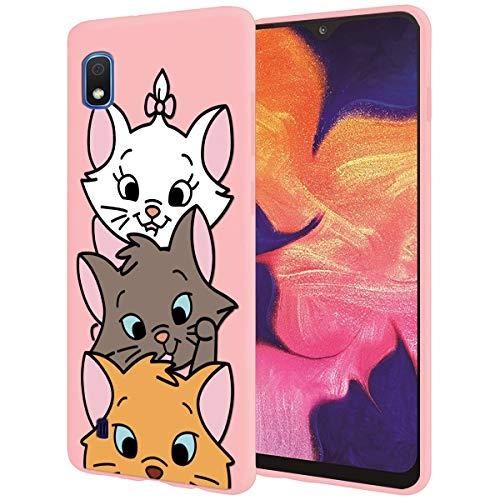 ZhuoFan Cover Samsung Galaxy A10, Custodia Cover Silicone Rosa con Disegni Ultra Slim TPU Morbido Antiurto 3D Cartoon Bumper Case Protettiva per Samsung Galaxy A10, 3 Cat