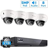 ONWOTE 8CH 5MP Audio PoE IP Home Security Camera System, Vandal-Proof Dome, 8CH 5MP H.265 NVR 2TB HDD for 24/7 Recording, (4) Wired Outdoor 5MP Ethernet IP Surveillance Cameras, 100ft IR, Wide Angle