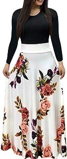 Sinfu Women Sexy Long Sleeve Printing Dress Ladies Long Maxi Dress