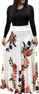 FRana Women Long Skirt White Sexy Long Sleeve Printing Dress Ladies O-Neck Long Maxi Dress