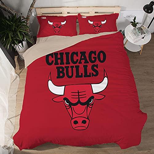 NBA Team Chicago Bulls Logo Patrón Funda edredón Suave Juegos 3 Piezas Funda nórdica Impresa 3D 2 Fundas de Almohada Juegos Ropa Cama para fanáticos del Baloncesto Decoración la habitación los niños