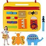 aovowog Tablero Montessori para Niños,Busy Board Juguetes Montessori 1 2 3 4 años,Juguetes Educativos de Aprendizaje Juguetes Sensoriales Activo Tablero para Habilidades Básicas