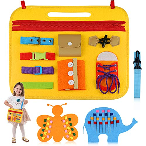 aovowog Giochi Montessori 1 2 3 4 Anni,Busy Board Giochi Educativi Montessori per Bambini,Giochi Sensoriali attività Manuali per l'apprendimento delle Abilità di Vita,Regalo per Ragazza Ragazzo