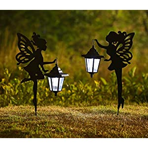 chuangfeng metal fairy solar light outdoor decoration metal fairy garden stake solar stake light for lawnpatio or courtyard 20 12 inches height 2pack