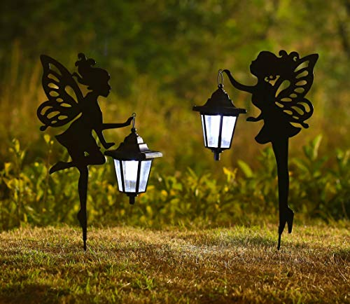 CHUANGFENG Metal Fairy Solar Light Outdoor Decoration Metal Fairy Garden Stake Solar Stake Light for...