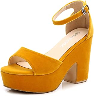 831a9b4e5a4 Women s Open Toe Ankle Strap Block Heeled Wedge Platform Sandals