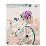 Joilkmgg Pintar por Numeros Bicicleta Flores Rosas para Adultos Niños Pintura por Números con Pinceles y Pinturas Pintar por Numeros Decoraciones para el Hogar 40 X 50 cm sin Marco