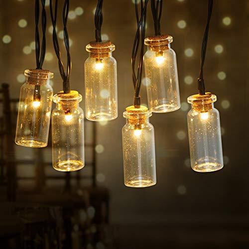 InnooLight 20er LEDs Solar Lichterkette Glasflaschen aussen mit 2 Modi, IP44 Wasserdicht, 2m Warmweiß LED Lichterkette outdoor mit 2m Kabel für Garten/Terrasse/Balkon …