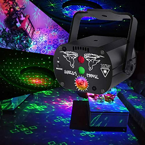 Stage and led Lights KisMee DJ Disco Projector Party Lights Sound Activated Time Function with Remote Control for Xmas Club Bar Halloween Decorations Gift Birthday Wedding (USB No Battery)
