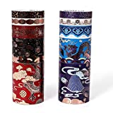 Molshine Set of 10 Foil Hot Stamping Washi Masking Tape Set,Sticky Paper Tape,Bronzing Crafts Tape for DIY,Bullet Diary Decorative,Gift Wrapping,Scrapbook,Party Supplies,Collection-(Dragon)