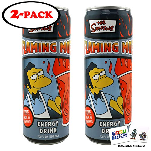 The Simpsons Flaming Moe Energy Drink 12fl OZ (355mL) (2 Pack) with 2 GosuToys Stickers