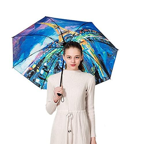 Ziayai Paraguas a prueba de rayos UV, estilo a prueba de aceite, paraguas femenino, protector solar para exteriores, plegable, sol, lluvia, sombrillas femeninas, pequeñas y negras (color: E)