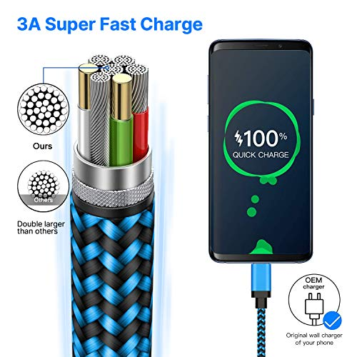 Type C Cable Fast USB C Charging 6FT 3Pack Power Cord Braided Phone Charger for Samsung Galaxy A10e A11 A20 A21 A51 A50 A71 A01 S10 S21 S20 FE Note 20, Moto G Power Stylus G7 G6 Z4, LG K51 Stylo4 5 6
