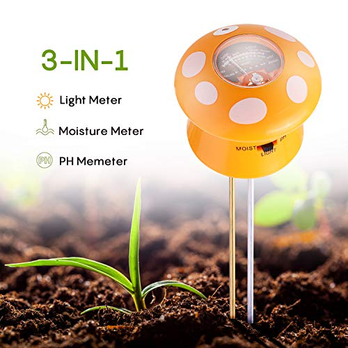 Ulikey Bodentester 3-in-1 Bodenfeuchtigkeit Meter, Boden PH Meter Digitales Boden PH Wert messgerät für Pflanzen, Garten, Bauernhof, Indoor, Outdoor (kein Batterien erforderlich)