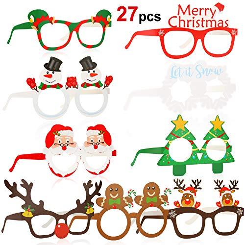 HOWAF 27 Stück lustig Weihnachtenbrillen Schneemann Weihnachtsmann Weihnachtsbaum Brillenrahmen Foto Requisiten weihnachtsbrillen für Erwachsene und Kinder Weihnachts Kostüm Dekoration