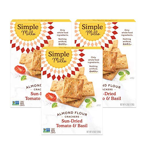 Simple Mills Almond Flour Crackers, Sundried Tomato & Basil, Gluten Free, Flax Seed, Sunflower Seeds, Corn Free, Good for Snacks, Made with whole foods, 3 Count (Packaging May Vary)