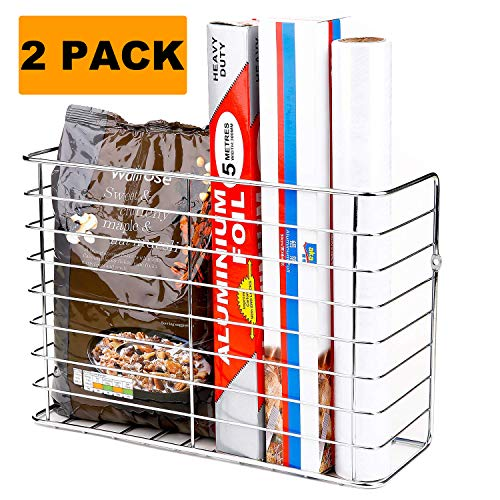 2 Pack Wall Door Mount Kitchen Wrap Organizer Rack,Cabinet Door/Pantry door/Wall Mount Kitchen Storage Organizer Basket