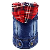 SILD Pet Clothes Dog Jeans Jacket Cool Blue Denim Coat Small Medium Dogs Lapel Vests Classic Hoodies Puppy Blue Vintage Washed Clothes (Plaid Hat,L)