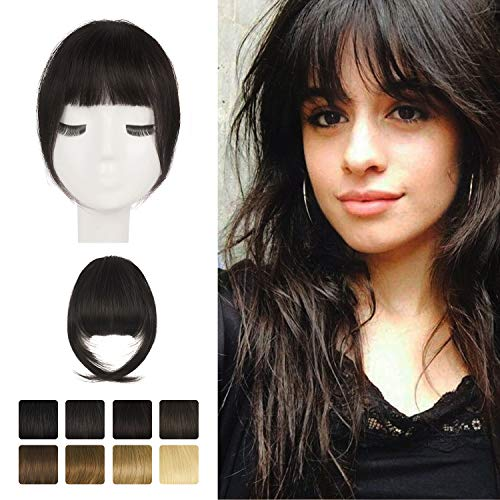 Clip in Fringe,BARSDAR 100% human hair extensions clip in French Bangs Neat Bangs with Temples Clip...
