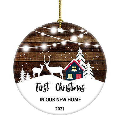 JUOOE 2021 First Christmas in Our Home Christmas Tree House Snow Deer Ornament Gift for Newlywed Couple 2021 (3inch New Home)