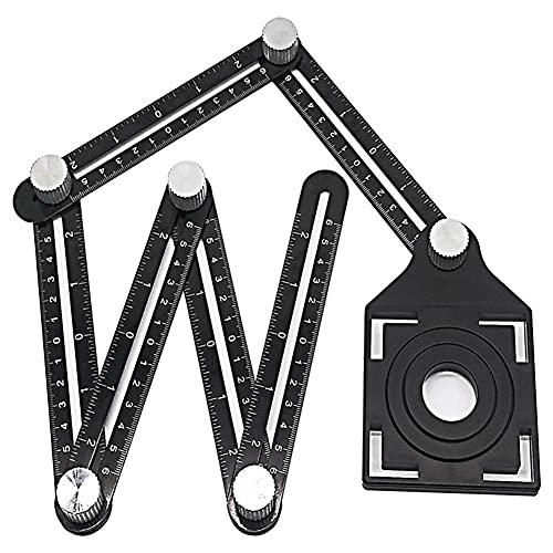 BAWAQAF Regla de medición de múltiples ángulos,Regla plegable,Aleación de aluminio plegable seis veces regla de azulejo Localizador de agujeros,para la herramienta de suelo de baldosas