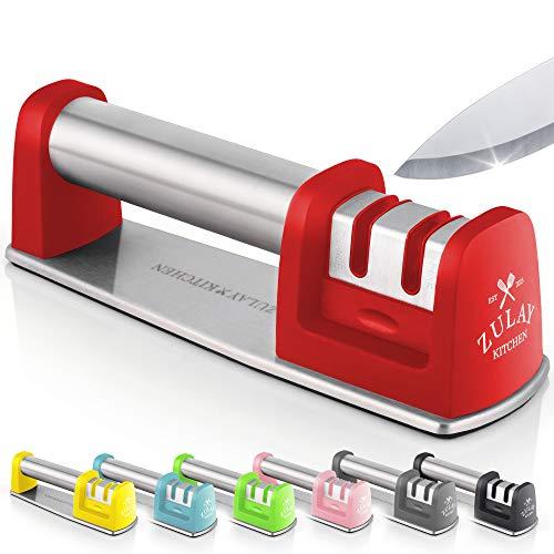 Zulay Messerschärfer für gerade und gezackte Messer, Edelstahl, Keramik und Wolfram, einfaches manuelles Schärfen für stumpfe Stahl, Schälen, Koche und Taschenmesser, Rot
