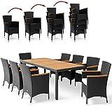 Deuba Salon de Jardin en polyrotin Noir et Acacia Ensemble 8 Personnes 1 Table 8 chaises empilables 8 Coussins de Chaise crème