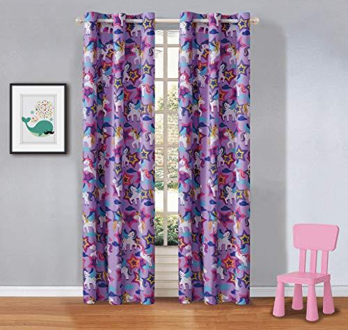 Fancy Linen 2 Panel Curtain Set with Grommets Unicorn Purple Pink New