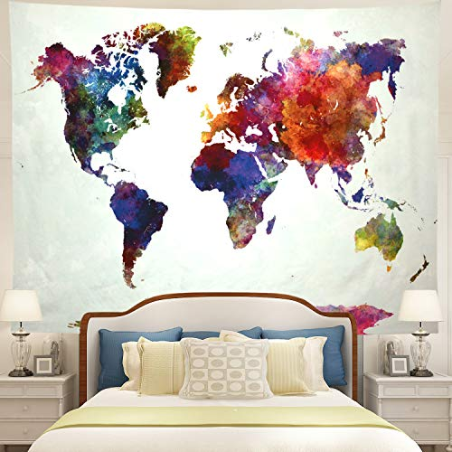 Tushelia World Map Tapestry Watercolor Tapestry Abstract Map Tapestry Wall Hanging Colorful Globe Tapestry Stylish Painting Map Tapestry for Living Room Dorm Wall Decor