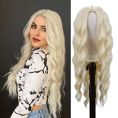 30 inch Long Wavy Wigs for Women Blonde Curly Wave Hair Wig Middle Part Body Wave Wigs Natural Looking Heat Resistant Synthetic Full Wigs for Daily Party Cosplay Costumes(30 ,613#)