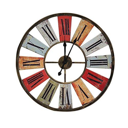 WeN Reloj de Pared de Hierro Forjado de Estilo Americano Vintage Industrial rústico Vintage Shabby Chic Estilo de Reloj de Pared de diseño Romano, 26.4 Pulgadas