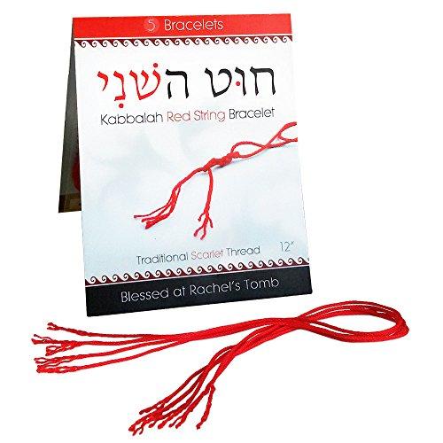 Pulsera Kabbalah original de cuerda roja, de 30.5 cm, paquete con 5, protección contra el mal de ojo y la desgracia, 100% auténtico algodón tejido de la tumba de Raquel, Israel...