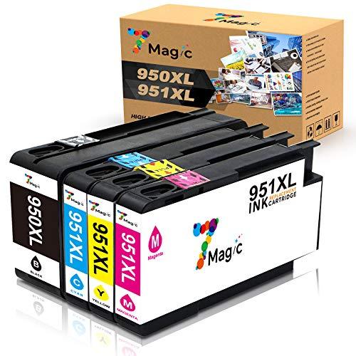 7Magic 950XL 951XL Kompatible für HP 950XL 951XL mit Neuestem Chip Tintenpatronen Kompatibel für HP Officejet Pro 8610 8620 8600 8615 8100 8625 8660 276dw Drucker(1Schwarz 1Blau 1Magenta 1Gelb)
