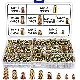 WJMY Einschraubmutter Gewindeeinsätze Holz Einschraubgewinde 135Stk M4 M5 M6 M8 M10 Einsätze Einschraubmuffen Sortiment für Holz Möbel