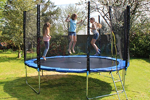 PlayActive Trampoline With FREE Safety Net Enclosure, Ladder, Rain Cover, Shoe Bag (10ft)