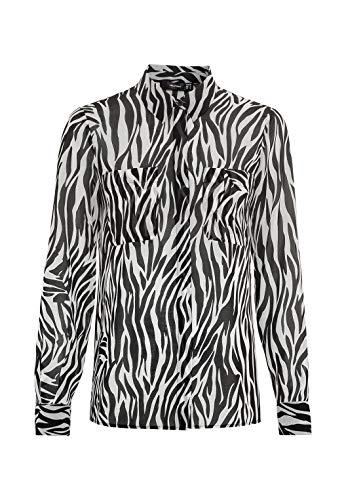 HALLHUBER Georgette-Bluse mit Zebraprint weit geschnitten schwarz, 40