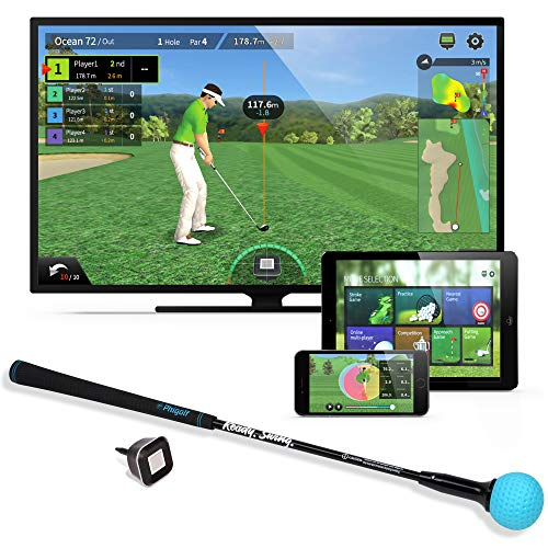 PhiGolf Mobile and Home Smart Golf Spielsimulator mit Swing Stick, Schwarz, Nicht zutreffend