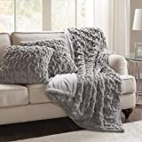 Comfort Spaces Ruched Faux Fur Plush 3 Piece Throw Blanket Set Ultra Soft Fluffy with 2 Square Pillow Covers, 50'x60', Grey