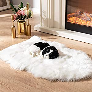 Asrug Soft Faux Fur Pet Bed Mat Plush and Fluffy Pet Pad Ultra Cozy Pet Throw Rug for Dogs Cats, White, 24 by 36 inches