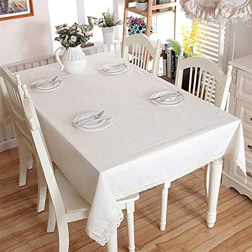 QL Elegante e Lussuoso Biancheria di Natale in Cotone Addensare Solido Tovaglia Bianco Pizzo Bianco Orlo Splice Lavabile caffè Tavola Tavola per Banchetti da Sposa Regali di Festa