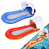 2 Pack Mesh Pool Floats for Adults with Canopy, Inflatable Hammock Pool Lounge Chair Float with Canopy