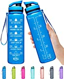Elvira 32oz Large Water Bottle with Motivational Time Marker & Removable Strainer,Fast Flow BPA Free Non-Toxic for Fitness, Gym and Outdoor Sports-Blue