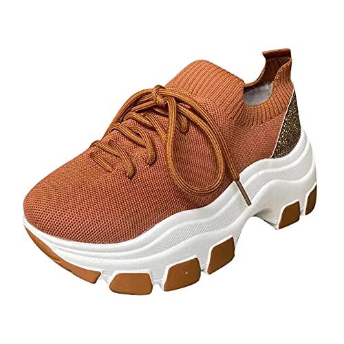 Damer fritidssko promenadskor vandringsskor platåskor snörning skor snörskor lätta moderna sneakers andas, - 1 brun brun - 40 EU