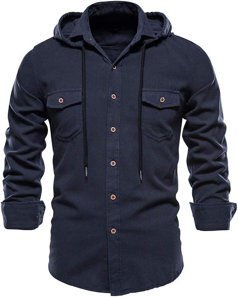 Cyparel Men's Casual Hooded Shirts Long Sleeve Lightweight Shirt Jackets