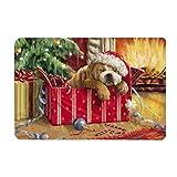 Depory Antideslizante Felpudo para Navidad, Diseño de Caja de Regalo y Perro Suave y Cómodo Alfombra Mat Alfombrillas Decorativas para el Pasillo, el Salón, el Baño, la Cocina