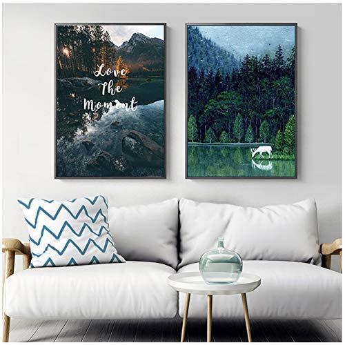 sjkkad Natuurlijke Landschap Leven Nordic Canvas Schilderij Wandkunst Posters afdrukken voor woonkamer wooncultuur -60x80 cm Geen lijst